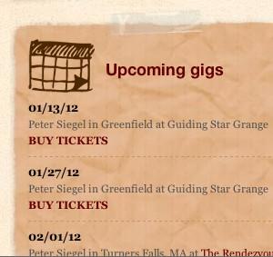 Peter Siegel Site Calendar